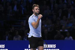 November 16, 2017 - London, England, United Kingdom - US player Jack Sock reacts to winning the second game of the final set during his men's singles round-robin match against Germany's Alexander Zverev on day five of the ATP World Tour Finals tennis tournament at the O2 Arena in London on November 16 2017. (Credit Image: © Alberto Pezzali/NurPhoto via ZUMA Press)