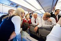 17 JUN 2009, AIRSPACE/UKRAINE:<br /> Frank-Walter Steinmeier, SPD, Bundesaussenminister, im Gespraech mit Journalisten, auf dem Rueckflug von Kiew nach Warschau, in einem Airbus A310 der Flugbereitschaft der bundeslauftwaffe, Luftraum uber der Ukraine<br /> IMAGE: 20090617-01-162<br /> KEYWORDS: travel, Flugzeug, plane