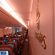 Inside an Airbus A380 of Emirates airways