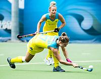 BRUSSELS - Georgina Morgan (Aus.) and Madeline Ratcliffe (Aus.)    during AUSTRALIA v SPAIN , Fintro Hockey World League Semi-Final (women) . COPYRIGHT KOEN SUYK