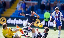 Falkirk's Myles Hippolyte scoring their disallowed goal after Lee Miller in on keeper MacDonald. Kilmarnock 4 v 0 Falkirk, second leg of the Scottish Premiership play-off final.