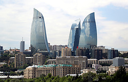 A general view of the Flame Towers prior to the UEFA Europa League final at The Olympic Stadium, Baku, Azerbaijan.