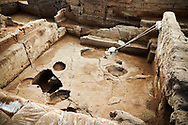Building 321. Empty burial pit in the floor of the Neolithic remains of mud brick house. In the top right is a darker area which was the midden or refuse pile from the house, 7500 BC to 5700 BC. North ecavation area, Catalyhoyuk Archaeological Site, Çumra, Konya, Turkey .<br /> <br /> If you prefer to buy from our ALAMY PHOTO LIBRARY  Collection visit : https://www.alamy.com/portfolio/paul-williams-funkystock/catalhoyuk-site-turkey.html<br /> <br /> Visit our TURKEY PHOTO COLLECTIONS for more photos to download or buy as wall art prints https://funkystock.photoshelter.com/gallery-collection/3f-Pictures-of-Turkey-Turkey-Photos-Images-Fotos/C0000U.hJWkZxAbg