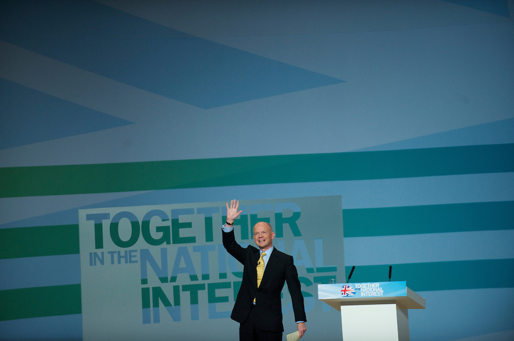 Secretary of State for Foreign and Commonwealth Affairs William Hague delivers a speech on the first day of the Conservatives Party Conference at the ICC, Birmingham, UK on October 3, 2010.  This is the first conference since the government coalition with the Liberal Democrats.