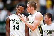 SHOT 1/28/12 4:35:49 PM - Colorado State's Pierce Hornung #4 and Greg Smith #44 flash smiles as they pull away from San Diego State  during their regular season Mountain West conference game at Moby Arena in Fort Collins, Co. Colorado State upset 12th ranked San Diego State 77-60. (Photo by Marc Piscotty / © 2012)