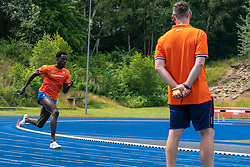 Taymir Burnet in action during the Press presentation of the olympic team Athletics on July 8, 2021 in Papendal Arnhem