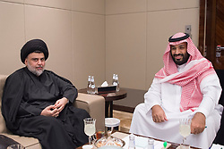 File photo - Saudi Crown Prince and Minister of Defense Mohammed bin Salman bin Abdelaziz Al Saud (right, also known as MBS) receives Iraq's influential Shiite leader Moqtada Al-Sadr in Jeddah, Saudi Arabia, on July 31, 2017. A new Saudi anti-corruption body has detained 11 princes, four sitting ministers and dozens of former ministers, media reports say. The detentions came hours after the new committee, headed by Crown Prince Mohammed bin Salman, was formed by royal decree. Photo by Balkis Press/ABACAPRESS.COM