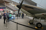 A replica Supermarine Spitfire sits on the concourse at London Bridge Station on 31st May 2019 in London, England, United Kingdom. Installed by the Imperial War Museum to mark 75 years since the D-Day landings.