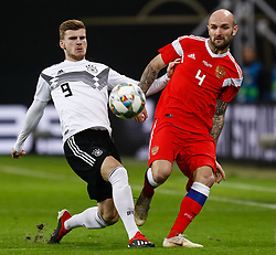 November 15, 2018 - Leipzig, Germany - Timo Werner (L) of Germany and Konstantin Rausch of Russia vie for the ball during the international friendly match between Germany and Russia on November 15, 2018 at Red Bull Arena in Leipzig, Germany. (Credit Image: © Mike Kireev/NurPhoto via ZUMA Press)