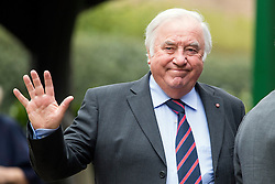 © Licensed to London News Pictures. 18/04/2016. Shirley, UK.  Jimmy Tarbuck arrives for the funeral of comedian, actor, writer Ronnie Corbett, held at St John the Evangelist Church in Shirley near Croydon. Corbett, who was most famous for his comedy sketch show  The Two Ronnies, performed with the late Ronnie Barker, died at the age of 85. Photo credit: Ben Cawthra/LNP