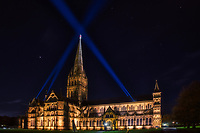 Salisbury Cathedral on Guy Fawkes Night 5th nov 2020 photo by Michael Palmer<br /> .