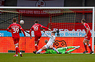 GOAL 3-0 Crawley Town defender Jordan Tunnicliffe (19) scores a goal to make the score 3-0 during the The FA Cup match between Crawley Town and Leeds United at The People's Pension Stadium, Crawley, England on 10 January 2021.