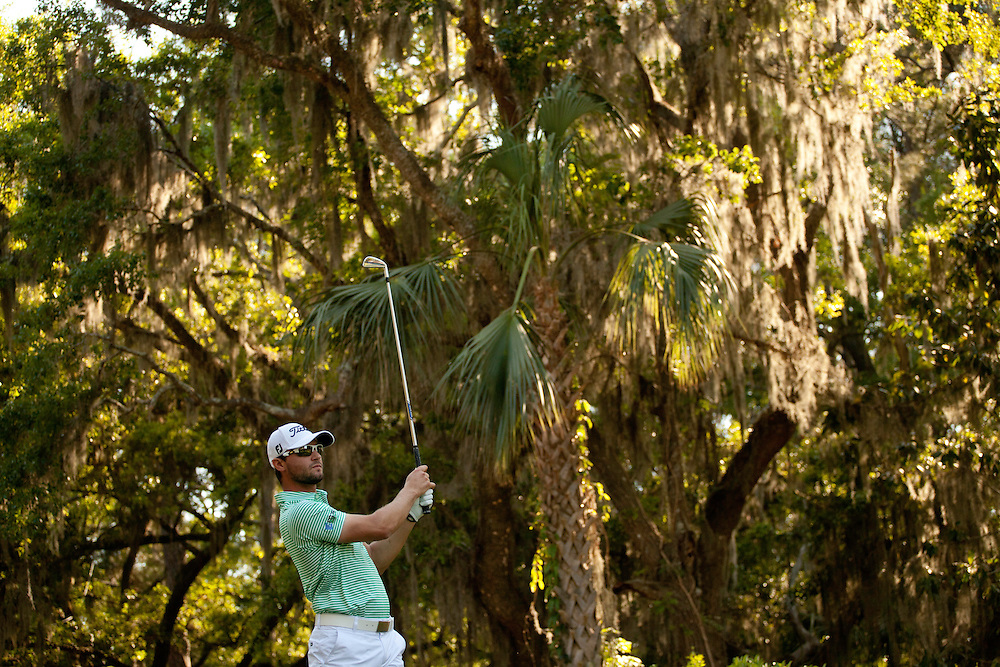 HILTON HEAD ISLAND, SC - APRIL 13: Kyle Stanley plays a tee shot during the second round of the 2012 RBC Heritage at Harbour Town Golf Links in Hilton Head Island, South Carolina on April 13, 2012. (Photograph ©2012 Darren Carroll) *** Local Caption *** Kyle Stanley