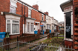 Rubbish left in the street in Hull, an area of social deprivation due to absent landlord tenancy agreements