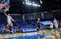 Middle Tennessee Blue Raiders guard C.J. Jones (23) dunks on a fast break during the Southern Mississippi Golden Eagles at Middle Tennessee Blue Raiders college basketball game in Murfreesboro, Tennessee, Saturday, March, 7, 2020.<br /> Photo: Harrison McClary/All Tenn Sports