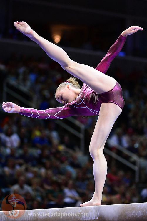 June 29, 2012; San Jose, CA, USA; Rebecca Bross falls on the balance beam during the 2012 USA Gymnastics Olympic Team Trials at HP Pavilion.