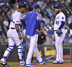 September 7, 2017 - Kansas City, MO, USA - Kansas City Royals relief pitcher Kelvin Herrera, right, gets a visit to the mound from pitching coach Dave Eiland in the ninth inning against the Minnesota Twins at Kauffman Stadium in Kansas City, Mo., on Thursday, Sept. 7, 2017. The Twins won, 4-2. (Credit Image: © John Sleezer/TNS via ZUMA Wire)