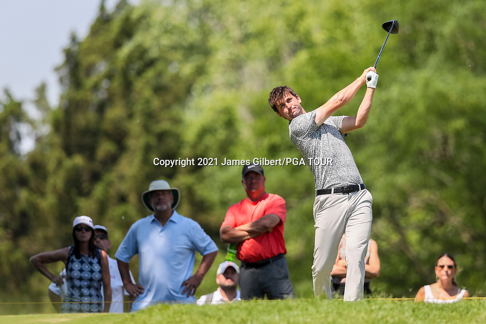 WICHITA, KS - JUNE 20: Ollie Schniederjans plays his shot from the 2nd tee during the final round of the Wichita Open Benefitting KU Wichita Pediatrics at Crestview Country Club on June 20, 2021 in Wichita, Kansas. (Photo by James Gilbert/PGA TOUR via Getty Images)