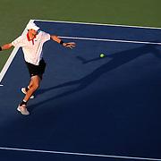 John Isner, USA, in action against Jarkko Nieminen, Finland, during the US Open Tennis Tournament, Flushing, New York. USA. 31st August 2012. Photo Tim Clayton
