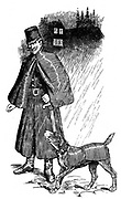 Ghent police dog, kitted out in its own mackintosh coat  for wet weather, with its handler. Mackintosh, a rubberised waterproof fabric. Engraving, London, 1907