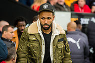 Injured Swansea City Player Kyle Bartley looks on from the touchline. Premier league match, Swansea city v Leicester city at the Liberty Stadium in Swansea, South Wales on Saturday 21st October 2017.<br /> pic by Aled Llywelyn, Andrew Orchard sports photography.