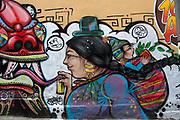 Bolivia 2013. La Paz. Street art - mural with cholita and spraycan.