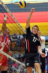 04.09.2010, Anhalt Arena, Dessau, GER, Vorbereitung Volleyball WM 2010, Laenderspiel Deutschland ( GER ) vs. Russland ( RUS ) 1:3, im Bild Yuri Berezhko (#10 RUS) - Patrick Steuerwald (#17 GER). EXPA Pictures © 2010, PhotoCredit: EXPA/ nph/   Conny Kurth+++++ ATTENTION - OUT OF GER +++++
