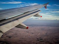 View across the desert to the Atlas mountains when flying into Marrakech, Morocco