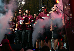 Oct 21, 2019; Sacramento, CA, USA; Players for the Sacramento Republic FC take the stage during a fan celebration event for the new MLS soccer team at Capital Mall. Mandatory Credit: D. Ross Cameron-USA TODAY Sports