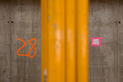 Number 28 identifies floor number on New York City construction site.