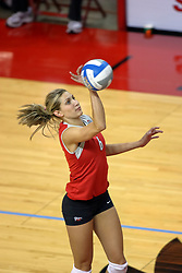 11 September 2007: Danielle Meyer keeps the ball in play with an awkward save. Ohio State Buckeyes bested the Illinois State Redbirds 3 games to 1 at Redbird Arena on the campus of Illinois State University in Normal Illinois.