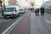 Bicycle lane in the centre of Madrid at Puerta del sol