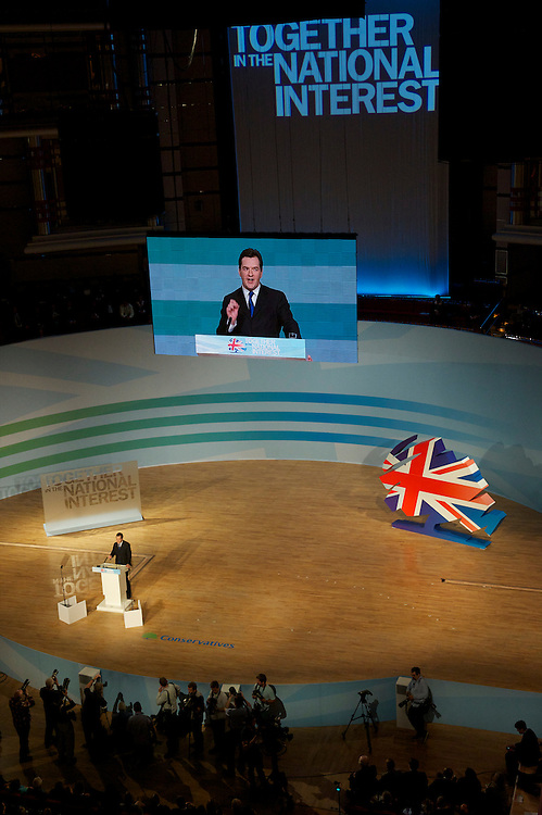 Chancellor of the Exchequer George Osborne delivers a speech on the second day of the Conservatives Party Conference at the ICC, Birmingham, UK on October 4, 2010.  This is the first conference since the government coalition with the Liberal Democrats.