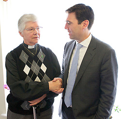 Launch of an independent commission report on integrated health and social care - 'One person, one team, one system'<br />  <br /> Sir John Oldham OBE - report author <br /> <br /> Rt Hon Andy Burnham MP<br /> Shadow Secretary of State for Health<br /> <br /> Liz Kendall MP<br /> Shadow Minister for Care and Older People<br /> <br /> launch the report on Labour's plans to bring together NHS and care services.<br /> <br /> Time Court Nursing Home, Charlton, London, Great Britain <br /> <br /> 4th March 2014 <br /> <br /> with Mrs Alice French from Waltham aged 82 years old, Mrs Maureen Luxford age 75, Mrs Ingrid Nash, <br /> <br /> also with Matthew Pennycook -  the prospective parliamentary Labour candidate for Greenwich and Woolwich in the 2015 elections  <br /> <br /> <br /> Photograph by Elliott Franks