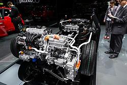 Kia Niro plug-in hybrid powertrain display at 87th Geneva International Motor Show in Geneva Switzerland 2017
