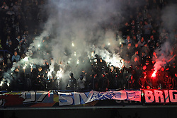 February 21, 2019 - London, Greater London, United Kingdom - Malmo fans with pyrotechnics during UEFA Europa League Round of 32 2nd Leg between Chelsea and Malmo FF at Stamford Bridge stadium, London, England on 21 Feb 2019. (Credit Image: © Action Foto Sport/NurPhoto via ZUMA Press)