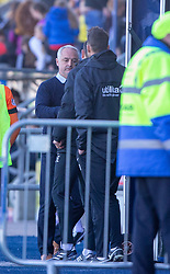 Falkirk's manager Ray McKinnon at the end. Dundee United's manager Csaba Laszlo at the end. Falkirk 0 v 2 Dundee United, Scottish Championship game played 22/9/2018 at The Falkirk Stadium.