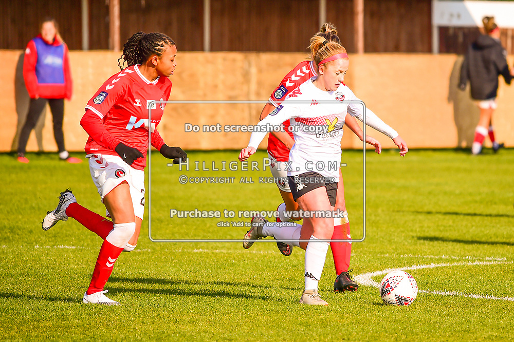 Crayford | England  | 07 March 2021 | The Oakwood<br /> <br /> Lewes's Mollie Rouse breaks through midfield<br /> <br /> Charlton v Lewes<br /> <br /> The FA Women's Championship<br /> <br /> (Photo: © Jon Hilliger / HilligerPix)