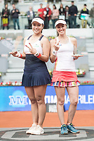 Swiss Martina Hingis and taiwanese Chan Yung-jan during Mutua Madrid Open Sub16 Tennis 2017 at Caja Magica in Madrid, May 13, 2017. Spain.<br /> (ALTERPHOTOS/BorjaB.Hojas)