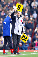 Photo: Daniel Hambury.<br />West Ham United v Portsmouth. The Barclays Premiership. 18/03/2006.<br />The fourth official Phil Crossley has to use old style numbers for the subs.