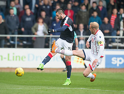 Dundee's Marcus Haber and Ross County's Andrew Davies. Dundee 1 v 1 Ross County, SPFL Ladbrokes Premiership played 13/5/2017 at Dens Park.