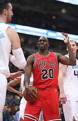 November 17, 2017 - Chicago, IL, USA - The Charlotte Hornets' Quincy Pondexter (20) reacts to a shove from the Charlotte Hornets' Frank Kaminsky (44) in the first quarter at the United Center in Chicago on Friday, Nov. 17, 2017. (Credit Image: © John J. Kim/TNS via ZUMA Wire)