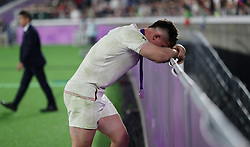 England Tom Curry reacts after the 2019 Rugby World Cup final match at Yokohama Stadium.