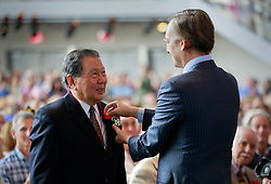 06 June 2014. The National WWII Museum, New Orleans, Lousiana. <br /> WWII veteran Pfc Lawrence Y Yatsu, 442nd 442nd Regiment, 32nd Division is honored with the French Legion of Honor medal by French Consul General, Claude Brunet..<br /> Photo; Charlie Varley/varleypix.com