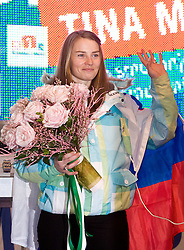 Slovenian 2-times silver medalist alpine skier Tina Maze at reception at Preseren's square when she came from Vancouver after Winter Olympic games 2010, on February 28, 2010 in Center of Ljubljana, Slovenia. (Photo by Vid Ponikvar / Sportida)