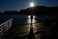 Silhouette, Shadow, and Sunburst on the M/V Columbia Alaska Marine Highway Between Bellingham, Washington and Haines, Alaska -- Queen Charlotte Sound, British Columbia - Canada. Image taken with a Nikon D3 and 24-70 mm f/2.8 lens (ISO 200, 24 mm, f/22, 1/1000 sec).