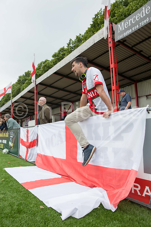 A Padania fan. Northern Cyprus 3 v Padania 2 during the Conifa Paddy Power World Football Cup semi finals on the 7th June 2018 at Carshalton Athletic Football Club in the United Kingdom. The CONIFA World Football Cup is an international football tournament organised by CONIFA, an umbrella association for states, minorities, stateless peoples and regions unaffiliated with FIFA.