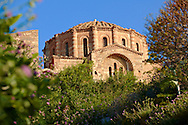 12th century Byzantine Orthodox Church of Hagia Sophia in the upper town ruins of Monemvasia (  ), Peloponnese, Greece ..<br /> <br /> Visit our GREEK HISTORIC PLACES PHOTO COLLECTIONS for more photos to download or buy as wall art prints https://funkystock.photoshelter.com/gallery-collection/Pictures-Images-of-Greece-Photos-of-Greek-Historic-Landmark-Sites/C0000w6e8OkknEb8 <br /> .<br /> <br /> Visit our MEDIEVAL PHOTO COLLECTIONS for more   photos  to download or buy as prints https://funkystock.photoshelter.com/gallery-collection/Medieval-Middle-Ages-Historic-Places-Arcaeological-Sites-Pictures-Images-of/C0000B5ZA54_WD0s