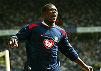 Photo Aidan Ellis.<br /> Leeds United v Portsmouth.<br /> FA Barclaycard Premiership.<br /> 25/04/2004.<br /> Pompey's Aiyegbeni yakubu celebrates the first goal