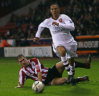 Photo: Steve Bond.<br />Sheffield United v Arsenal. Carling Cup. 31/10/2007. Keiran Gibbs leaves a Blades defender in his wake